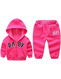 Zhhlinyuan Unisex Kids 2 piece Thick Cotton Lined Zipper Hoodies+Pants Outfits Cute Baby Casual Ropa Sets