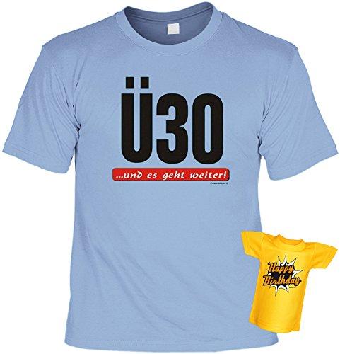 Geburtstags-Fun-Shirt-Set inkl. Mini-Shirt/Flaschendeko: Ü 30...und es geht weiter! Hellblau