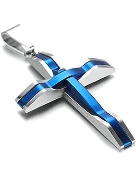 Aooaz Modeschmuck Edelstahl Kette für Männer Kreuz Anhänger Halskette Silber Blau 5 x 3.2MM