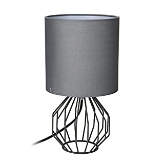 Table Lamp, Bedside Minimalist Fabric Desk Lamp, Aglaia Modern Silver Chrome Metal Basket Cage Style with a Silver Fabric Shade and 4W LED Bulb [Warm White]