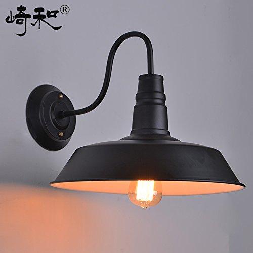 BOOTU Bougeoir LED et descendre appliques Village industriel Loft café terrasse exterieur etanche lampes rétro mur rétro vieux lampadaire, diamètre 46cm en noir et blanc.