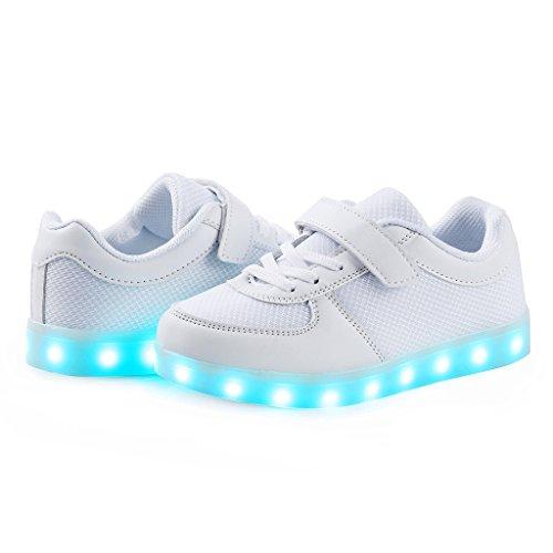 SAGUARO® 7 Farben Unisex Kind LED leuchten Sport Laufschuhe Luminous Flashing Glow Turnschuhe Studententanz Stiefel Weiß