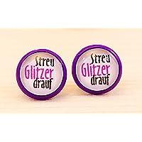 Ohrstecker 10 mm Fassung lila oder silberfarben – streu Glitzer drauf – Cabochon / Glasversiegelung - Handmade