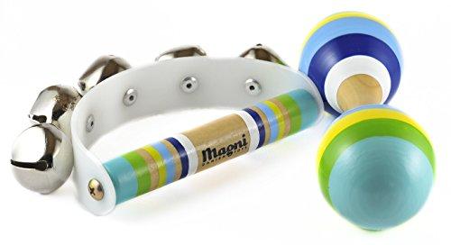 Preisvergleich Produktbild Magni Schellenkranz und Holzrassel im Set für Kinder mit buntem Holzgriff blau grün gelb für Jungs