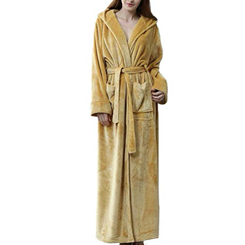 Lwy accappatoio donna con cappuccio, autunno e inverno camicia da notte coppia di lusso, flanella bavero a maniche lunghe sezione lunga, pigiama cintura set,khaki,l