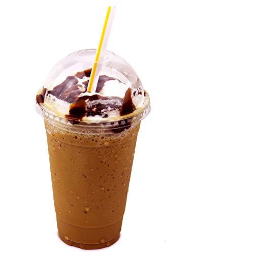 ff Tasse mit Dome Deckel für Iced Cold Drink Kaffee Tee Saft Smoothie Bubble Boba Wondercase Handyschutzcover, Einweg, Größe [50Stück] ()