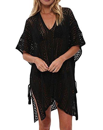 Happy Sailed Womens Loose Fit Crochet Knitted Tassel Tie Kimono Beachwear Bikini Cover Ups