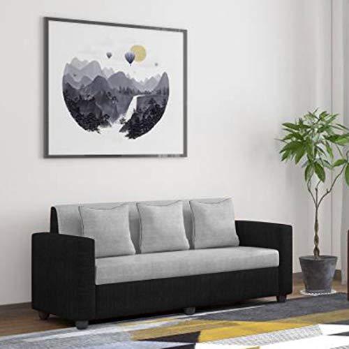 Bharat Lifestyle Tulip Fabric 3 Seater Black Grey Sofa