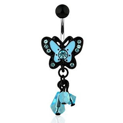 1 x Aqua Blue Crystal Flying Butterfly and Baby Blue Bead Dangle Belly Bar Piercing  Dicke: 1,6 mm  Length : 10mm  Material: Chirurgischer (Pille Kostüm Baby)