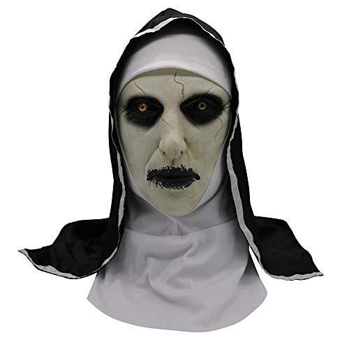 Halloween Devil Nonne Horror Maske mit Wimple Kostüm für Damen Herren Scary Masquerade The Conjuring Kigcos Deluxe Latex Vollkopfmasken (Full - Scary Kostüm Für Damen