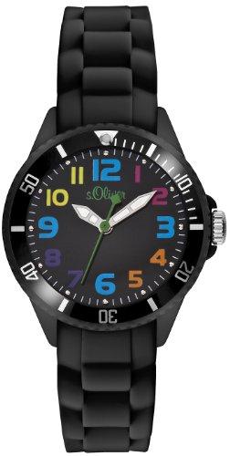 s.Oliver - SO-2429-PQ - Montre Mixte - Quartz Analogique - Bracelet Silicone Noir