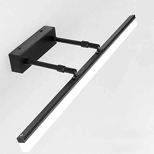 LAZ Badmöbel Leuchten LED Make Up Spiegelleuchte Wandleuchten Schwinge Bilderleuchten Wandmontage für Küche & Flur (Color : Black-Cool white-40cm-9W)