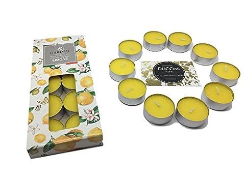 Ducomi® Essence–Bougies parfumées et colorées avec autonomie jusqu'à 2heures en boîte de alluminio- bougies idéal pour fêtes et décoration–Crée l'atmosphère, l'esprit et l'équilibre juste, jaune