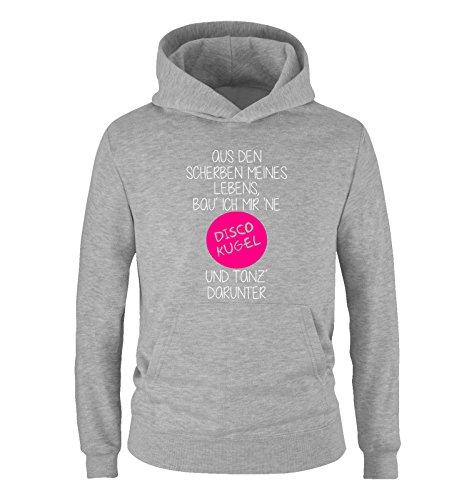 Comedy Shirts - Aus den Scherben meines Lebens, bau ich mir ne Disco Kugel und tanz darunter - Mädchen Hoodie - Grau / Weiss-Pink Gr. 116