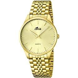 Lotus 15885/3 - Reloj de cuarzo para hombre, con correa de acero inoxidable, color dorado