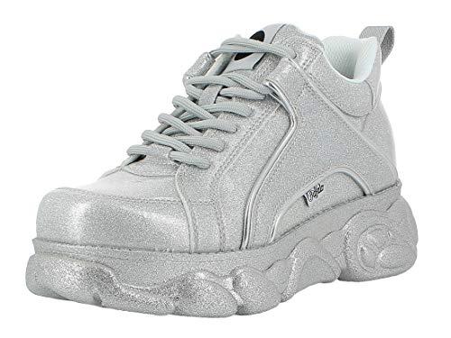 Buffalo Corin Damen Sneaker,Low-Top Sneaker,Halbschuh,Sportschuh,Schnürschuh,Silver,36 EU
