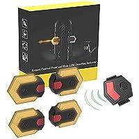 Nologo - Luz delantera y trasera para bicicleta con mando a distancia inalámbrico inteligente, indicador LED de dirección de ciclismo