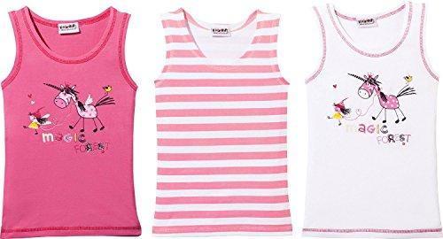 Kinderbutt Unterhemd 3er-Pack Single-Jersey gestrickter Ringel pink/weiß Größe 86 / 92