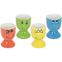 "'com de Four® Huevera ""Faces, Huevera de cerámica con caras divertidas, en varios colores 04 Stück - Mix2"