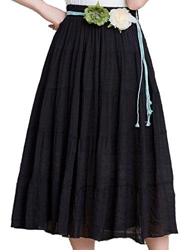 Helan femmes Plissé Jupes longues Bohême Style Plage Jupes Noir