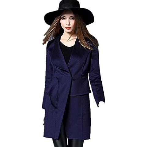 sezione lunga femminile cachemire Slim inverno cappotto , deep blue , xl