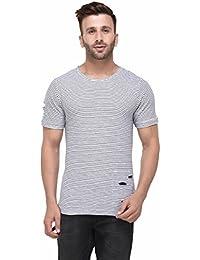 Rigo Distressed White And Black Striped Half Sleeve Tshirt For Men