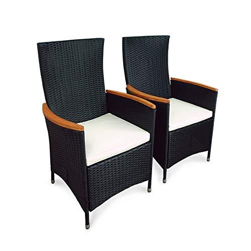 Indoba 2 x Designer Gartenstuhl Rattan schwarz Holz Garten Stuhl Sessel