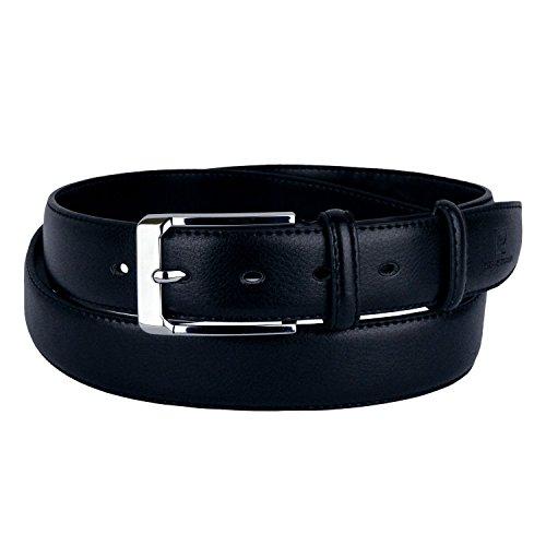 HY01304 Cintura da uomo Pierre Cardin in pelle fibbia in acciaio e due passanti. MEDIA WAVE store (115cm, Blu)