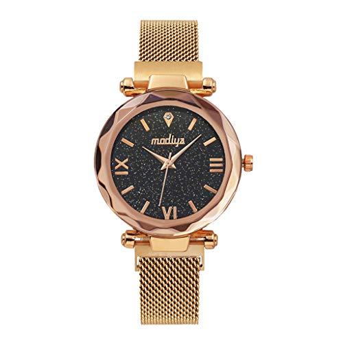 Tyoby Quarzuhr für Frauen Mode Sternenhimmel Flache Glas Quarz Mesh Magnetschnalle Damenuhr(Rose Gold) - Bronze Flach Mesh