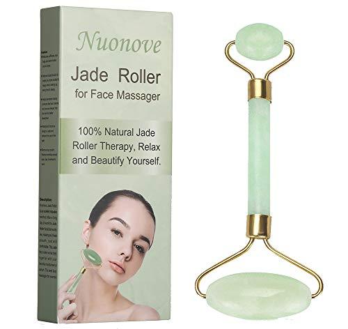 Jade Roller, Jade Roller Massagegerät, Jade Massagestein, Anti-Aging Jade Roller Therapie 100{2d567b2d6d6bcb798ce9819cc8422f1464e8a1ebdd1907085a40282093ff9522} natürliche Gesicht abnehmen und bewegen Massagegerät