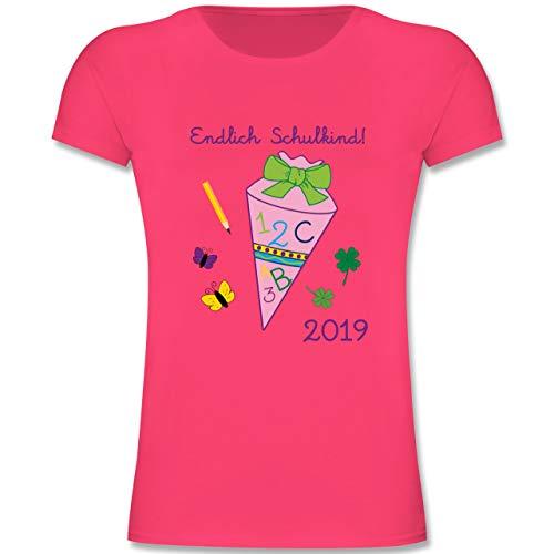 Einschulung und Schulanfang - Endlich Schulkind 2019 Mädchen - 128 (7-8 Jahre) - Fuchsia - F131K - Mädchen Kinder T-Shirt (Gelb-stoff Bin)