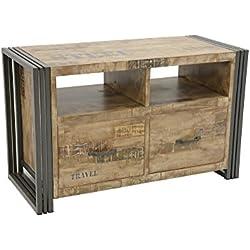 Nomadde Industriel - Meuble TV 2 tiroirs Wolof 90cm Finition vieillie colorée et blanchie - Finition : Recyclé coloré Blanchi Bois Massif d'Hévéa & Fer