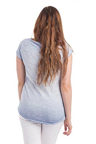 Abbino Basics Basiques Tops T-shirts Femmes - Fabriqué en Italie - Plusieurs Couleurs - Transition Printemps Été Automne Plaine Elegant Classique Vintage Casual Manches Courtes Uni - Taille Unique Bleu - Blau (Art. 0797)