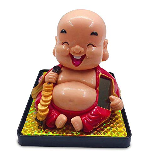 ZTM Lächelnde Buddha Solar Powered Swing Spielzeug Auto Dashboard Ornament Home Office Dekor Geschenk