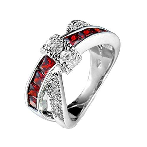 gyjun Frauen Rot Saphir 10KT Weiß Gold gefüllt Ring, RED-7