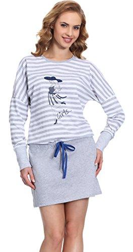 Merry Style Chemise de Nuit Femme MS10-102 Gris/Bleu Sombre