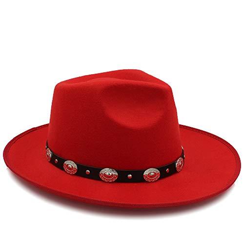 Xinanlongjb Moda Chapeau Wide Brim Autumn Lady Mujer Caliente Sombrero de Copa Jazz Cap Invierno Fedora Hat para Mujer Hombre Sombrero de Lana con Correa de Cuero (Color : Rojo, tamaño : 56-58CM)