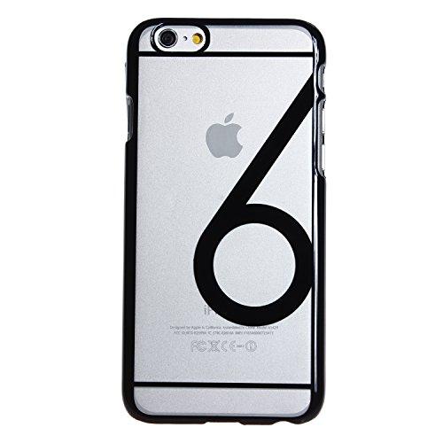 wortek Crystal Case farbig Nummer 6 Schutzhülle kristallklar durchsichtig Apple iPhone 6 (4,7 Zoll) Transparent Pink Schwarz