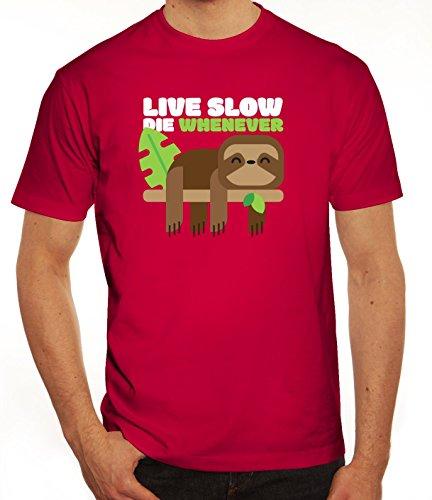 Faultier Herren T-Shirt mit Live Slow Die Whenever Motiv von ShirtStreet Sorbet