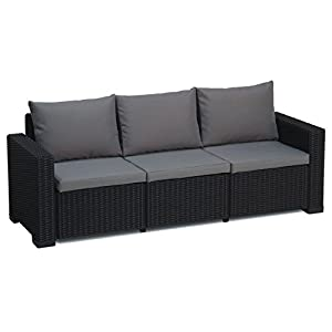 Transcontinental Group Allibert California Graphit grau 3-Sitzer Rattan Outdoor Garden Patio Sofa mit Kissen