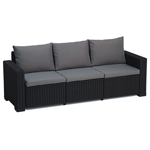 up Allibert California Graphit grau 3-Sitzer Rattan Outdoor Garden Patio Sofa mit Kissen ()