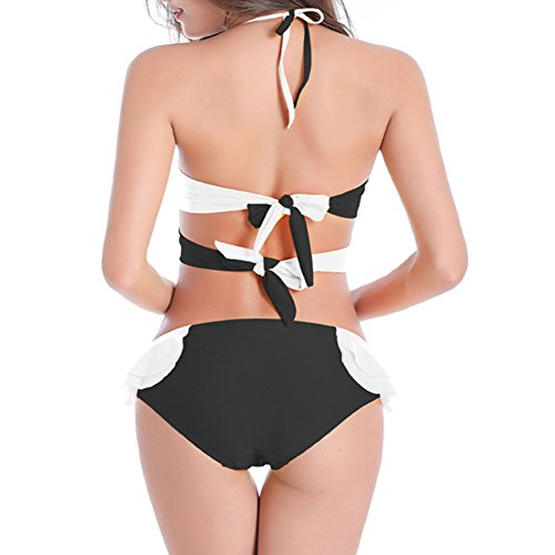 Haodasi Multi Seil Spleißen Farbe Bikini Set Bandage Badeanzug Strand Bademode Unterwäsche Black White