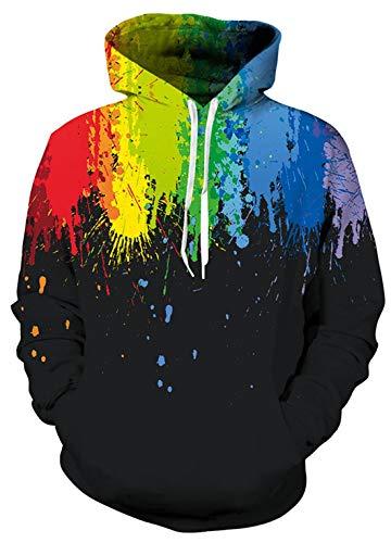 AIDEAONE Männer Neuheit 3D Print Hoodies Herren Parodie Pullover Mit Kapuze Sweatshirts Schwarz