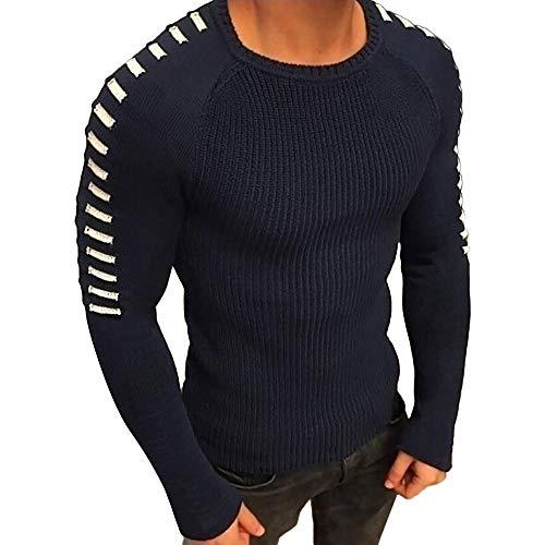 TWBB Herren Winter Streifen Warme Strickpullover Sweater Mantel Outwear Oberteile