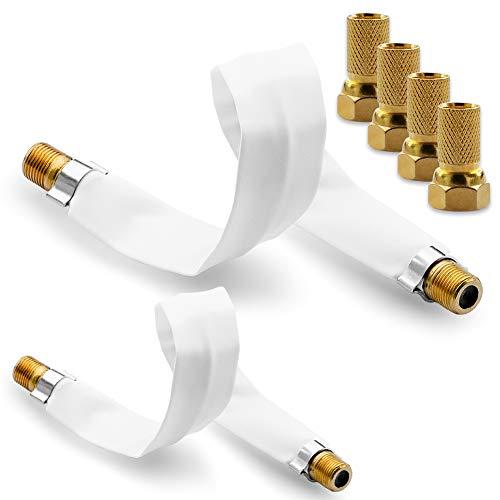 NAUC 4X F Stecker Vergoldet 2X SAT HDTV Fensterdurchführung flach Antennen Kabel 22,5 cm ohne Bohren Flachkabel selbstklebend F-Buchse F-Verbinder vergoldet Sat-hdtv-antenne