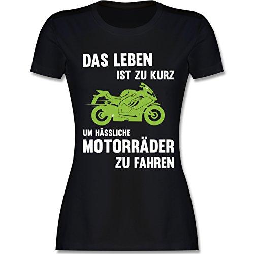 Statement Shirts - Das Leben ist zu kurz um hässliche Motorräder zu Fahren - M - Schwarz - L191 - Damen T-Shirt Rundhals