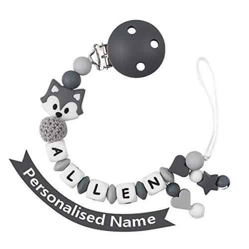 Schnullerkette mit Namen Junge Schnuller Clip Personalisierte Silikon Perlen Beißring Zahnen BPA Frei für Babys Fuchs (Grau)