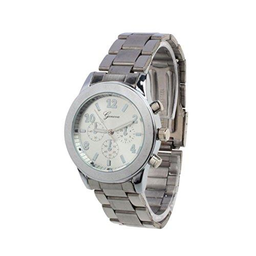Amsion Señoras muchacha de las mujeres unisex de acero inoxidable cuarzo reloj de pulsera (plata)