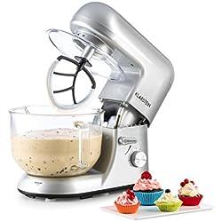 Klarstein Bella Argentea 2G - robot de cuisine, mélangeur, pétrin, 1200 W, 5,2 l, 6 vitesses, pétrin à planétaire, bol en verre, fixation rapide, fouets moulés, fouets à neige, argent