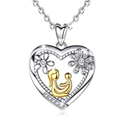 Idea Regalo - Collana da Donna in Argento Sterling 925 Ali d' angelo Mama Halt Baby Golden Bicolore Ciondolo 46 cm Catena Madre Figlia Gioielli Regalo da AEONSLOVE